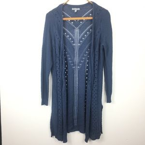 Olivia Sky Cardigan Duster Long Sleeve Blue